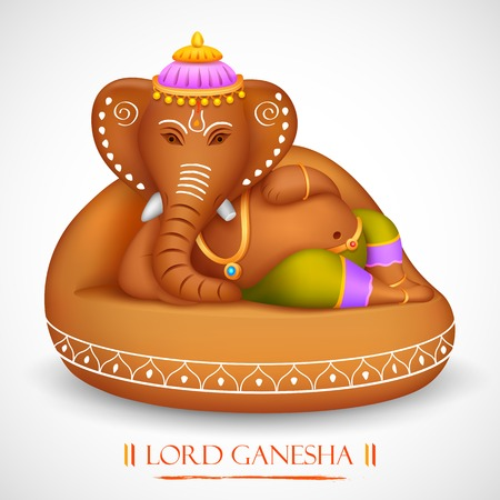illustration of statue of Lord Ganesha made of rock Vector