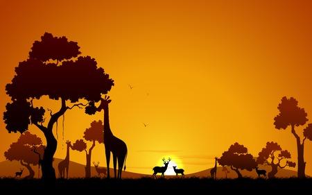 animales de la selva: ilustración de jirafa y ciervos en la selva Vectores