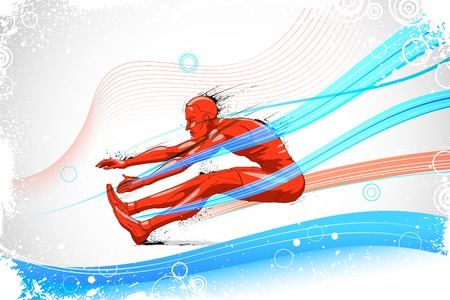long jump: easy to edit vector illustration of sportsman doing long jump Illustration
