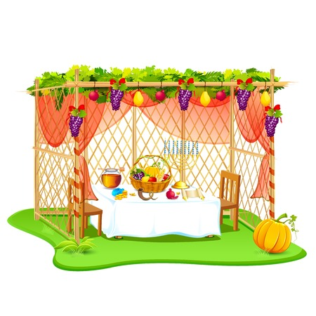 jews: vector illustration of decorated sukkah for celebrating Sukkot