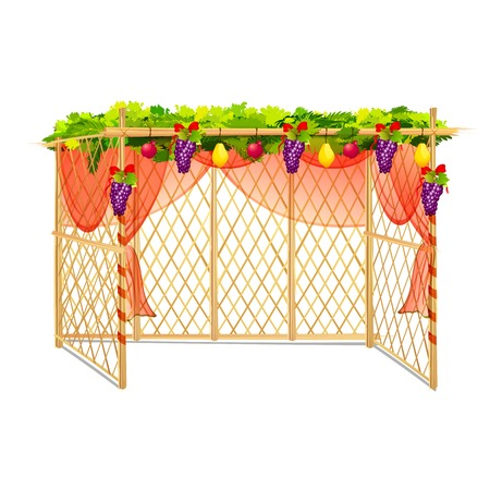 thatched: vector illustration of decorated sukkah for celebrating Sukkot