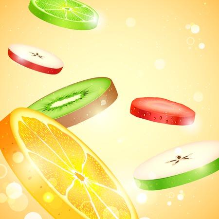dinning: illustration of colorful fresh fruit slices