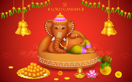 illustration of statue of Lord Ganesha made of clay Ganesh Chaturthi Vector