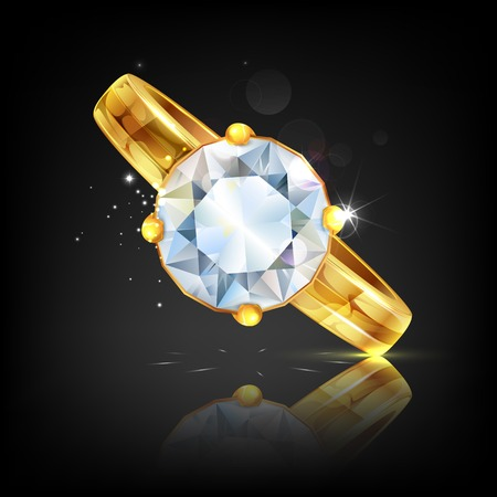 solitaire: illustration of diamond embeded in gold ring