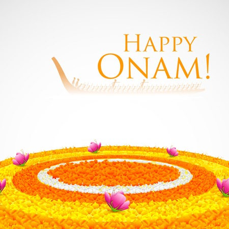 onam: illustration of flower rangoli decoration for Onam Illustration