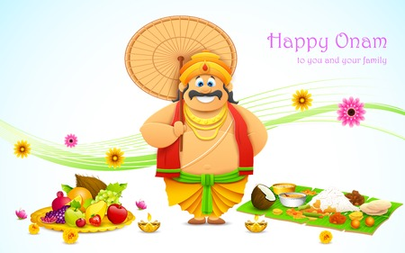 onam: illustration of King Mahabali in Onam background