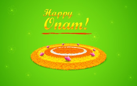 illustration of flower rangoli decoration for Onam Vector