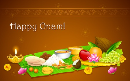 onam: illustration of Onam feast on banana leaf