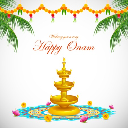 kerala: illustration of Happy Onam decoration with diya and rangoli Illustration