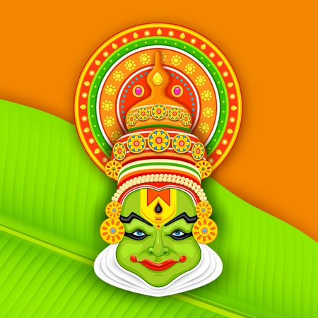 folk festival: illustration of colorful Kathakali dancer face for Onam celebration