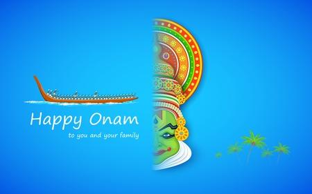 bateau de course: illustration de visage danseur de kathakali et les courses de bateau pour la célébration Onam