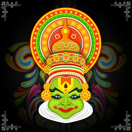 onam: illustration of Kathakali dancer face