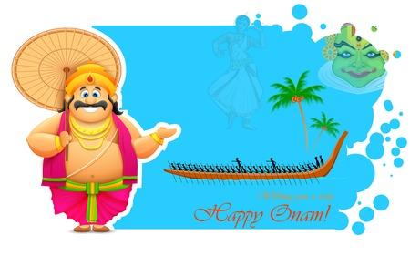 boat race: illustration of King Mahabali enjoying Boat Race of Kerla on Onam Illustration
