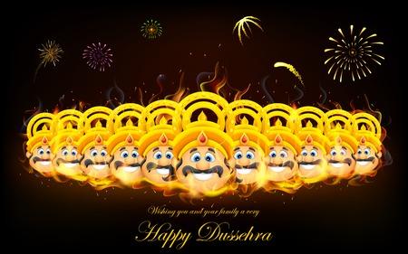ramayana: illustration of Raavan Dahan for Dusshera celebration Illustration