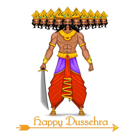 illustration of Ravana with ten heads for Dussehra Vector