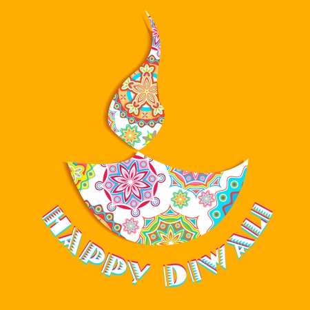 illustration of colorful diya for Happy Diwali Vector