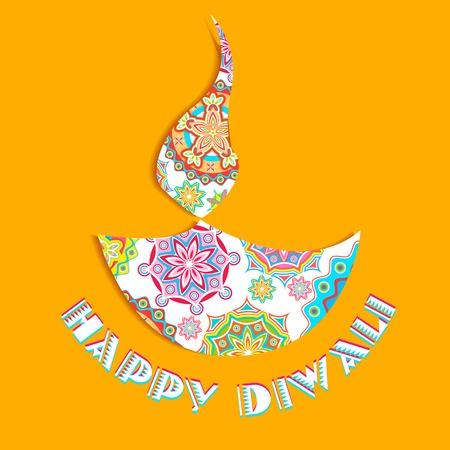 auspicious occasions: illustration of colorful diya for Happy Diwali