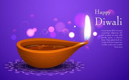 diwali background: illustration of burning diya on Diwali Holiday background Illustration