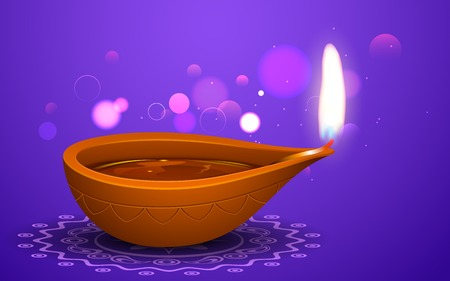 illustration of burning diya on Diwali Holiday background Vector