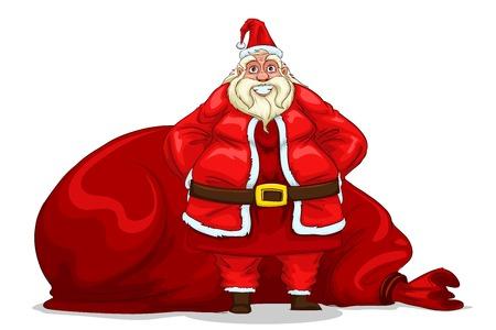 sackful: illustration of Santa Claus with bag for Christmas gift