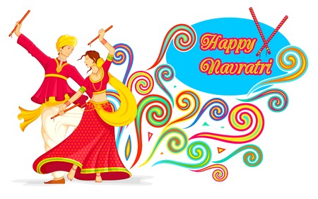 indian festival: illustration of couple playing dandiya on Navratri Illustration