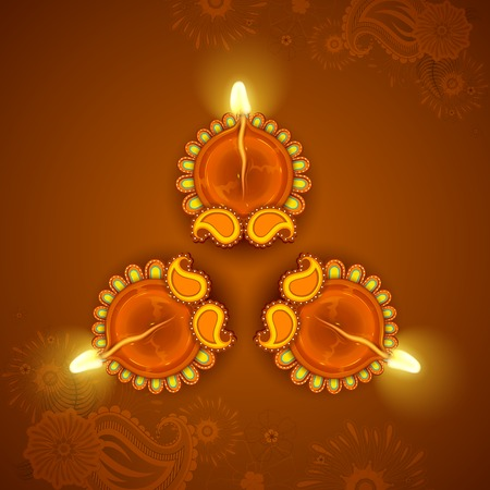 auspicious: illustration of Decorated Diya for Diwali Holiday