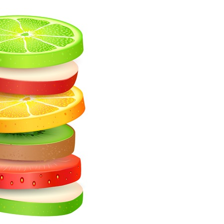 fruity salad: illustration of colorful fresh fruit slices