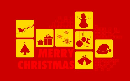 illustration of Merry Christmas collage background Vector