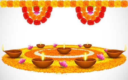 dekoration: Illustration der dekorierten Diwali Diya auf Blume rangoli