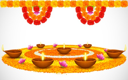 rangoli: illustration of decorated Diwali diya on flower rangoli