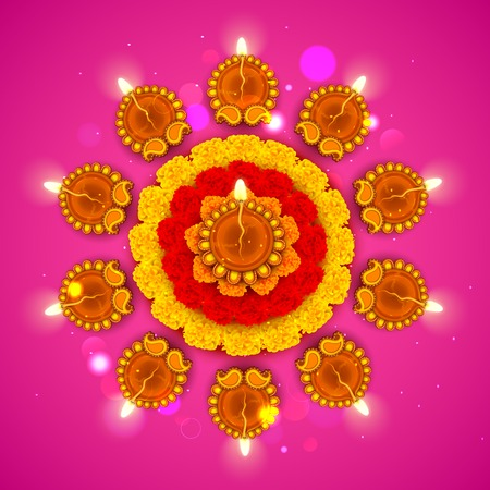 inauguration: illustration of decorated Diwali diya on flower rangoli