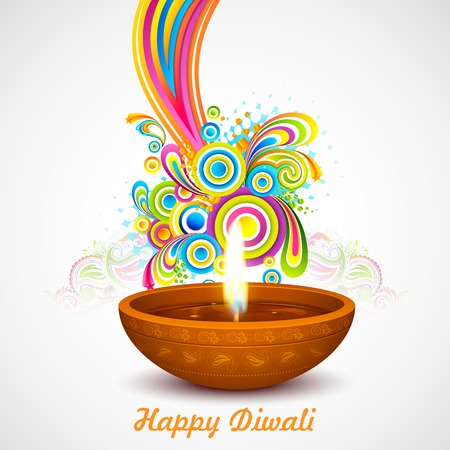 illustration of colorful swirls coming out of Diwali diya Vector