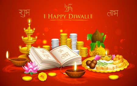 holiday prayer book: Ilustraci�n de fondo Happy Diwali con thali puja