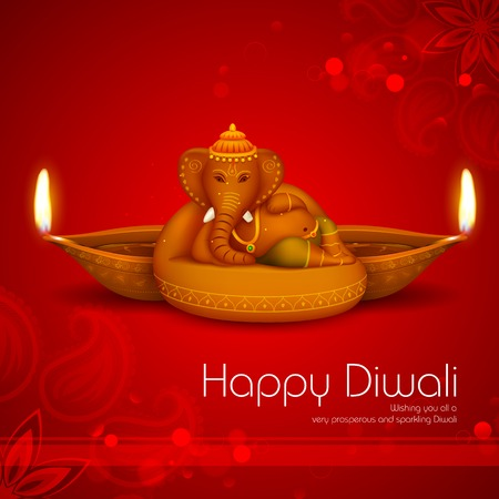 illustration of Ganesha with diya on Diwali Holiday background Vector