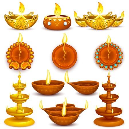 Illustration de la collection de Diwali Diya décoré Banque d'images - 25749584