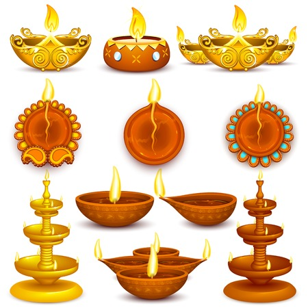 illustration of collection of Diwali decorated diya Ilustrace