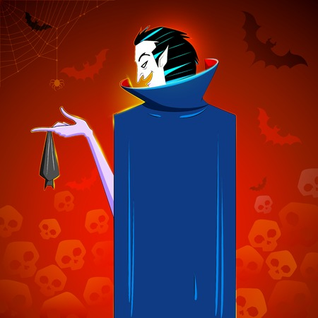 illustration of dracula with hanging bat in Halloween night Vector