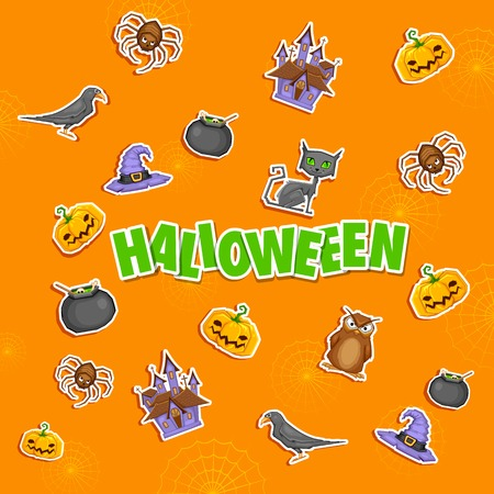 illustration of Halloween background with sticker Vector
