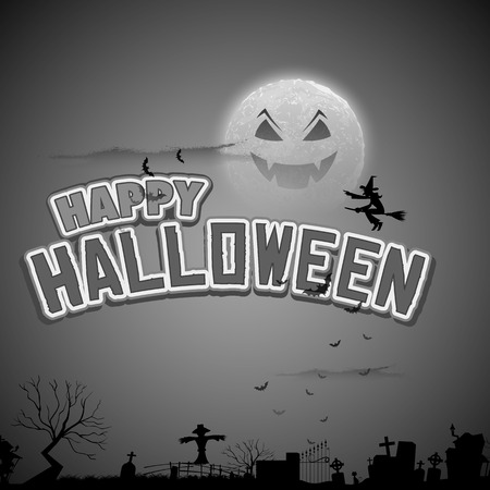 illustration of witch flying in Happy Halloween Background Vector