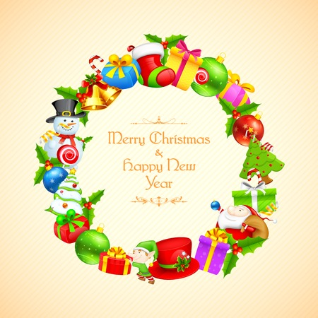 illustration of Christmas decoration with gift and bell Vector