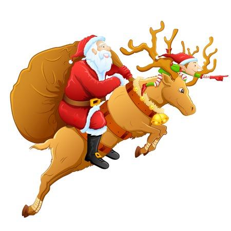 ilustración de Santa en el reno con el regalo de Navidad Foto de archivo - 25749614