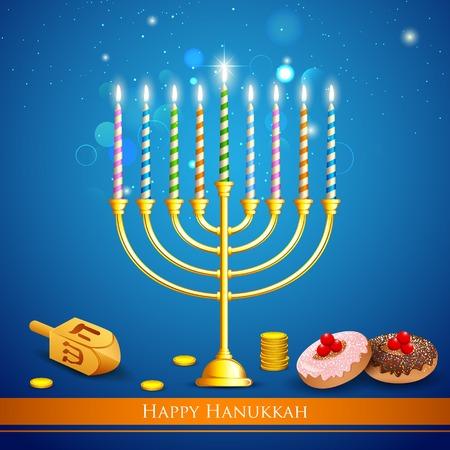 menorah: illustration of burning candle in Hanukkah Menorah with dreidel