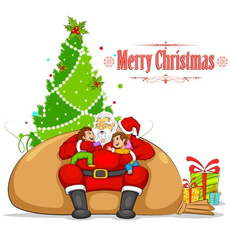 illustration of Santa with Kids sitting on sack Vector