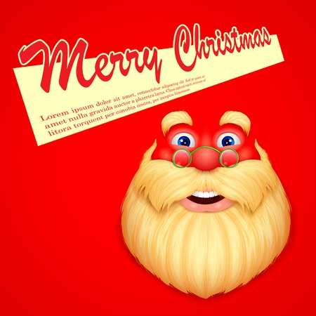 illustration of face Santa Claus wishing Merry Christmas Vector