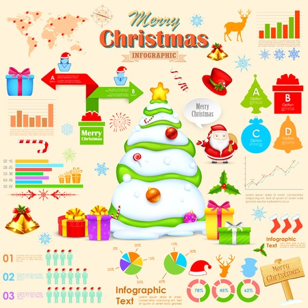 illustration of Christmas infographic with holiday object Vector