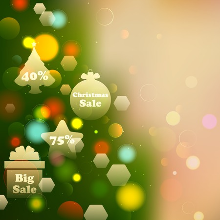 illustration of Christmas Offer on Bokeh Effect Background Vector