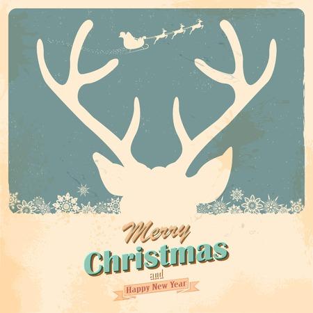 papa noel en trineo: ilustración del reno de la Navidad en el fondo retro vacaciones Vectores