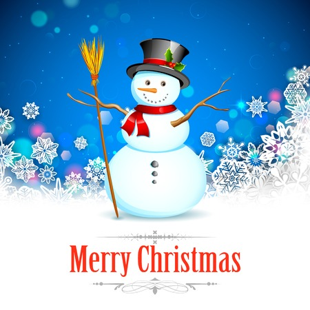 illustration of Snowman with broom in Christmas Snowflakes Background Vector