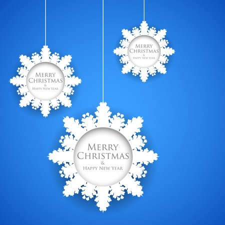 illustration of Hanging Snowflakes in Christmas Background Vector