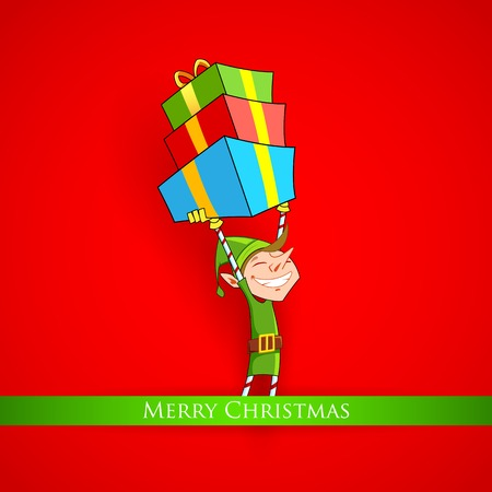 illustration of Elf holding Christmas gifts Vector